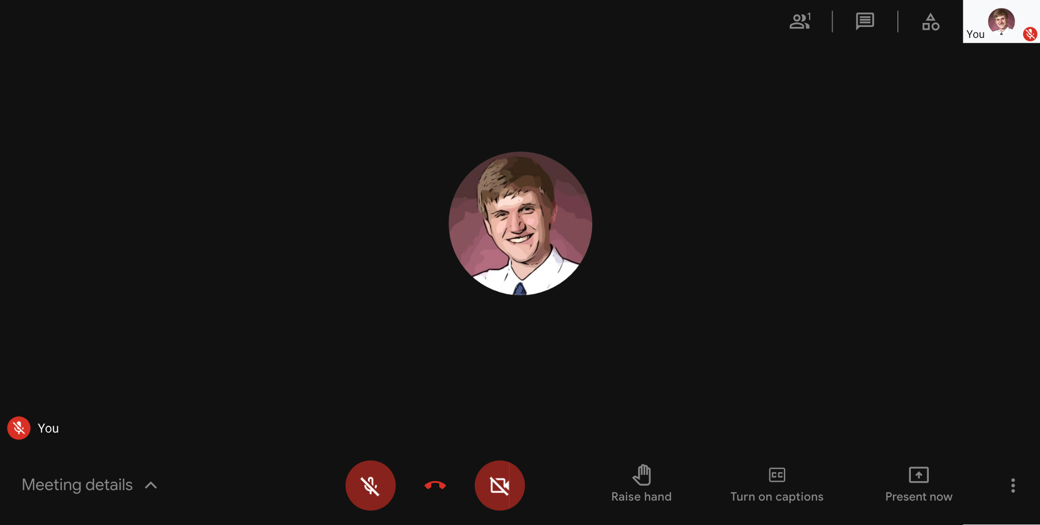 Google Meet UI with the footer fixer applied